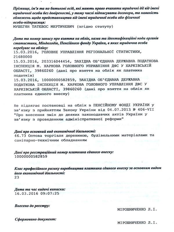 Реєстраційні документи ТОВ «Татос-Буд»